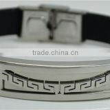 Simple Fashion Smooth Stainless Steel Bracelets Black Leather Wrist Bands Metal Buckle Weld Arc Shape Chinese Pattern Bracelets