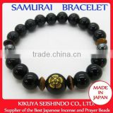 Oda Nobunaga, Samurai bracelet, black onyx 10 mm with hematite and tiger-eye beads, Japanese bracelet, bracelet made in Japan