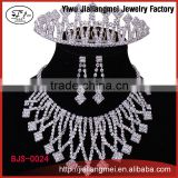 Chinese rhinestone jewellery sets bridal tiara necklace earrings
