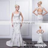 Kelly bridal Wholesale Sweatheart backless sleeveless floor-length mermaid style prom dress / wedding dress