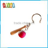 Wholesale mini wooden baseball bat key chain, PU Baseball Set Key Ring