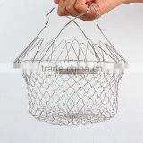Hot sale chef basket stainless steel foldable12-in-1 kitchen tool strainer as seen on TV