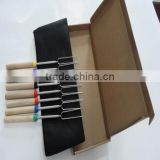 Wooden handle high quality stainless steel telescopic cotton candy bbq forks Light handy marshmallow roasting stick