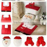 2015 New Best-selling Christmas Gifts 3Pcs In One Christmas Decorations Happy Santa Toilet Seat Cover and Rug Bathroom Set