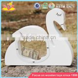 wholesale cute white swan shape wooden baby piggy banks best design wooden baby piggy banks W02A256