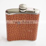High quality lether flat hip flask