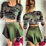 Camo Tracksuit Summer women Suit Camouflage Women Set Costume 2 Pieces Sexy Tops & Skirt Cute Sexy Women Top Design Tracksuit