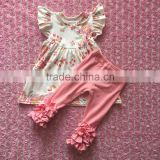 2016 hot sale baby girl boutique wholesale clothing baby flower pattern pearl dress match pink icing ruffle pants outfit