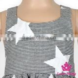 Latest Children Dress Designs Stripe Star Printed Backless Halter Bow Young Girls Wearing Sleeveless Short Skirts