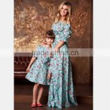 A word Shoulder Mother Daughter Matching Dress Polyester Floral Girl Dresses