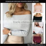 Latest fashion blouse design Womens Jumper Off Shoulder Long Sleeve Fitted Top blouse