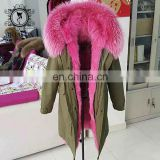 real pink color fox fur parka wholesale modern oversized fur trim coat for women