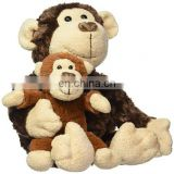 Stuffed Animal Mom And Baby Plush Toys Monkey Custom OEM Cartoon Brown Soft Plush Monkey Toy