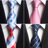 Summer Solid Colors Silk Woven Neckties Silky Finish Silver