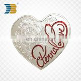 heart shape silver plating custom metal souvenir coin