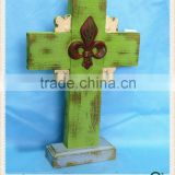 wholesale decorative vintage carved wood cross craft for home&garden decor. HW15A00364