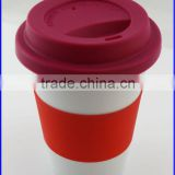 Wholesale Ceramic Travel Plain White Coffee Mug with Silicone Lid