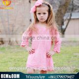 Latest Hot Children Clothing Girl Dress Lace Flower Pink Dress Party Dress For Beauty Girl