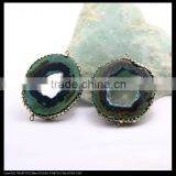 LFD-0095B Nature Agate Geode Connector Beads, with Pave Crystal and Silver / Gold Foil / Abalone Shell Druzy Beads