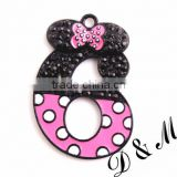Wholesale large 40mm fashion silver alloy rhinestone minnie football pendants for kids jewelry making