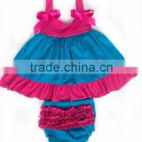2015 Newly design cute baby swing set baby swing top set pima cotton baby clothing various colors available
