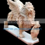 red natural stone western lion statue with wings