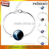 Sterling Silver Star Moon Glass Cabochon Charm Bracelets & Bangles Fashion Jewelry