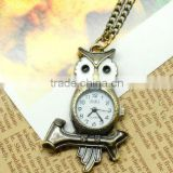 fashion hanging pocket watch hang quartz owl shape analog hang watch hanging necklace watch