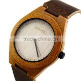 Hot Sale Imported 763 Movement Wristwatches Genuine Leather Bamboo Wood Dress Quartz Watches for Men and Women anniversary Gifts