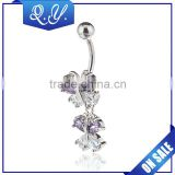 New trendy high quality belly button rings sexy clear steel cubic zircon belly navel rings piercing gold plated body jewelry