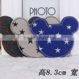 Mouse Shape Embroidered Star Patches For Bags,Custom Patches
