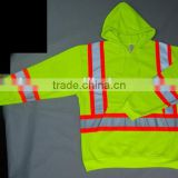 Hi-vis Long Sleeves Fashion Reflective Sports Hoodie Shirts Single Polar Fleece Safety Clothing