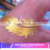Factory OEM custom logo summer hot new product body art temporary tattoo sticker feature gold