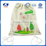 2016 New arrival promotional personalized design cheap cotton cloth drawstring bags for kids