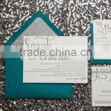 Peacock Green Silver letterpress wedding invitations cards