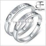 "Customized Infinity Cubic Zirconia 925 Sterling Silver ""forever"" Adjustable Size Couples Rings, Solitaire CZ Open Rings"