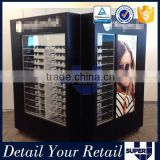 Best design black paint wood eyewear display free stand movable eyeglass display cabinet                                                                         Quality Choice