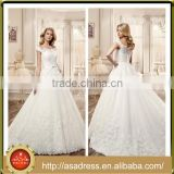 VDN45 Beautiful Lace Appliqued Beaded Bodice Bridal Gown with Double Lace Straps Low Back Long Style Princess Lace Wedding Dress