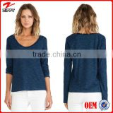 Women long sleeve t-shirt Crew neckline bulk blank t-shirt with wholesale blank t shirts