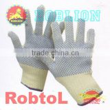 Double layer Kevlar knitted with PVC dots safety glove (itemID:KTAG) -Mary