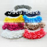 Low price to sale layer pearls flower/ chiffon fabric clothing collar/ hair accessories