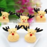 New arrival resin Christmas deer resin hair bow resin cabochons flatback resin DIY resin for kids hair phone accessaries
