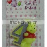 Wholesale Pooh Party Moulded Candle/candle Number 0-9, available in 1 2 3 4 5 6 7 8 9 0 Kids Birthday Partyware Party Supplies