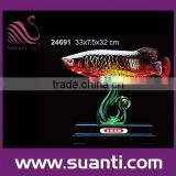 Factory wholesale promotional Chinese transparent souvenir lucky arowana fish figurine