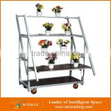 own factory 3/4/5 tiers greenhouse plant garden vegetable metal flower display stand cart trolley