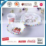 5 pcs children melamine tableware set with cute bus decal, melamine camping tableware set