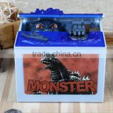 New Fancy Novelty Design Monster Music Godzilla Stealing Money Box, Creative Decorative Cartoon Gift Coin Bank