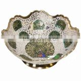 Enameled Snacks Bowls,Arabian Brass Item,MetalColored Arabian Snacks Bowl,Dish,Bowl,Saudi Arabian Bowl,Metal Enameled Fruit Bowl