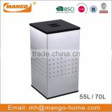 Square Plastic Lid Stainless Steel Laundry Bin