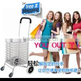 folding luggage cart with deluxe wheel, stair climbing wheel